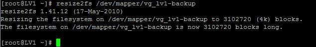 LVM resize2fs